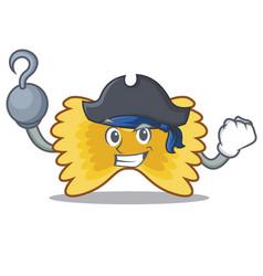 Pirate farfalle pasta character cartoon vector