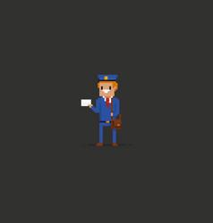 Pixel art mailman vector