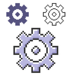 pixel icon cogwheel in three variants fully vector image
