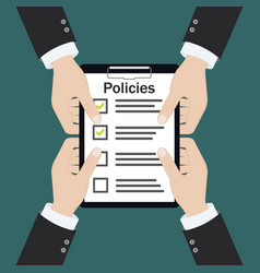 Policies board company policy check list vector