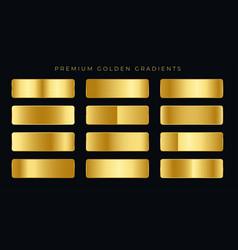 Premium golden gradients swatches set vector