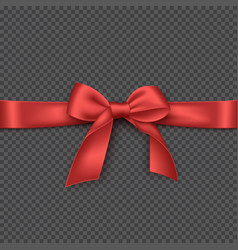 Realistic red bow and ribbon vector