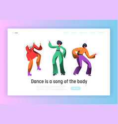 retro dancer character dance landing page vector image