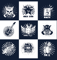 Rock band or music concert fest icons vector