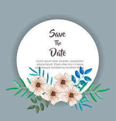 Save the date circular frame vector