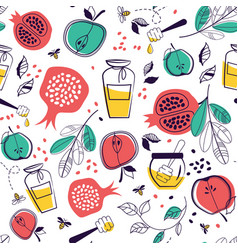 Seamless pattern with symbols of rosh hashanah vector