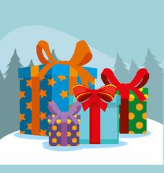 set christmas gifts presents vector image