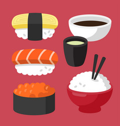set of asian sushi food vector image