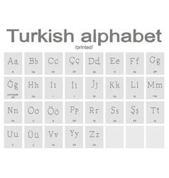 set of monochrome icons with turkish alphabet vector image