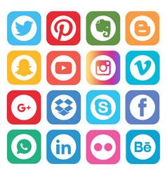 Set popular social media icons vector