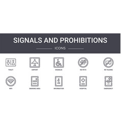 Signals and prohibitions concept line icons set vector