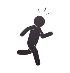 Silhouette human running isolated icon vector