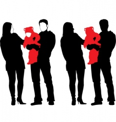 Silhouette of new happy family vector