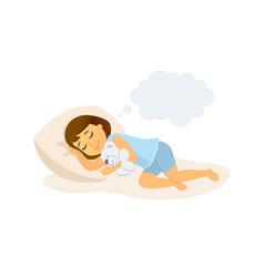 sleeping girl - cartoon people character isolated vector image