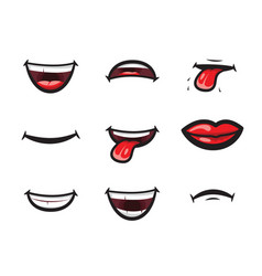 smiling lips mouth with tongue white toothed vector image