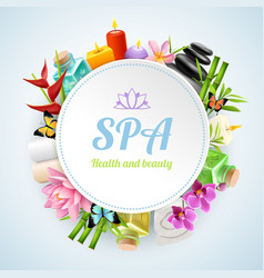 Spa realistic round frame vector