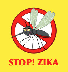 Stop mosquito character with prohibited symbol vector