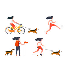 summer activities set bike hike football vector image