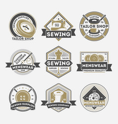 Tailor sewing company vintage isolated label set vector