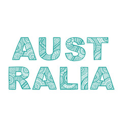 the inscription australia the font in ethnic vector image