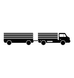 Trailer truck icon simple style vector