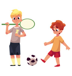 Two boys playing badminton and football at the vector