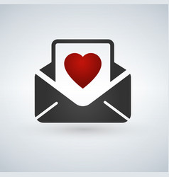 Valentine day card envelope color line flat icon vector