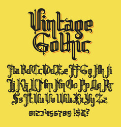 Vintage gothic typeface vector