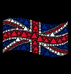 waving british flag mosaic of filled triangle vector image