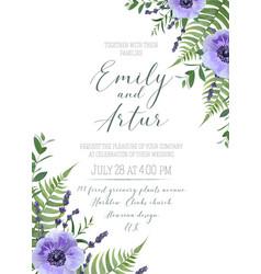 wedding floral invite save date design vector image