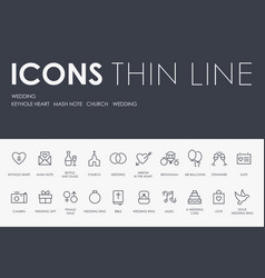 wedding thin line icons vector image