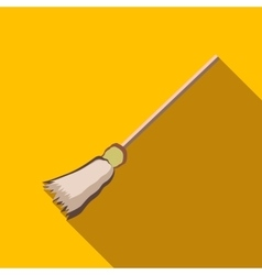Witch broom icon flat style vector image