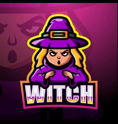 witch mascot esport logo design vector image