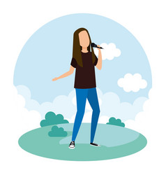 woman singing with microphone character vector image