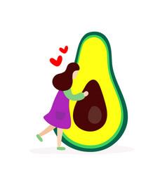 young girl hugging big avocado vector image