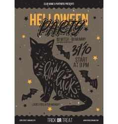 black cat with typography vector image