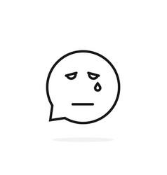 black thin line sad emoji speech bubble logo on vector image vector image