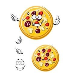 Cartoon italian pizza with ingredients vector image vector image