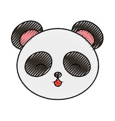 cute scribble panda bear face vector image vector image
