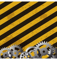 Grunge striped cunstruction background and gears vector image