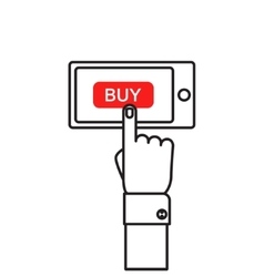 Hand holing smart phone with buy button on the vector image vector image