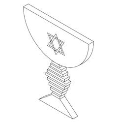 Judaic bowl isometric 3d icon vector image
