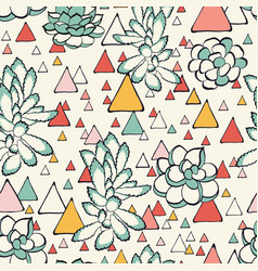 succulent and triangles seamless pattern vector image