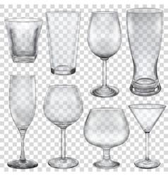 Transparent empty glasses vector image vector image