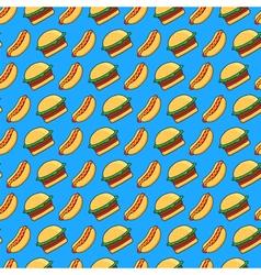 burger and hot dog pattern vector image