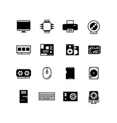 Computer hardware hdd memory ram microchip cpu vector image