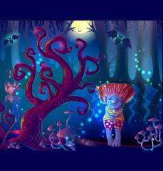 Dark magic enchanted forest template vector