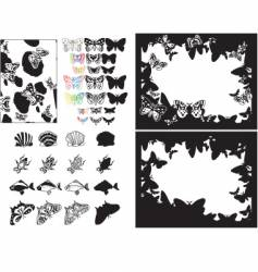 fish bugs and butterflies vector image
