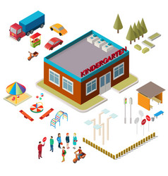 icons of the kindergarten building playground vector image