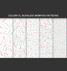 Collection of colorful seamless memphis patterns vector
